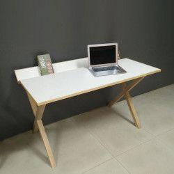 Bureau bois moderne blanc 130 cm TILT
