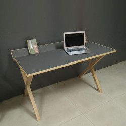 Bureau bois moderne carbone 130 cm TILT