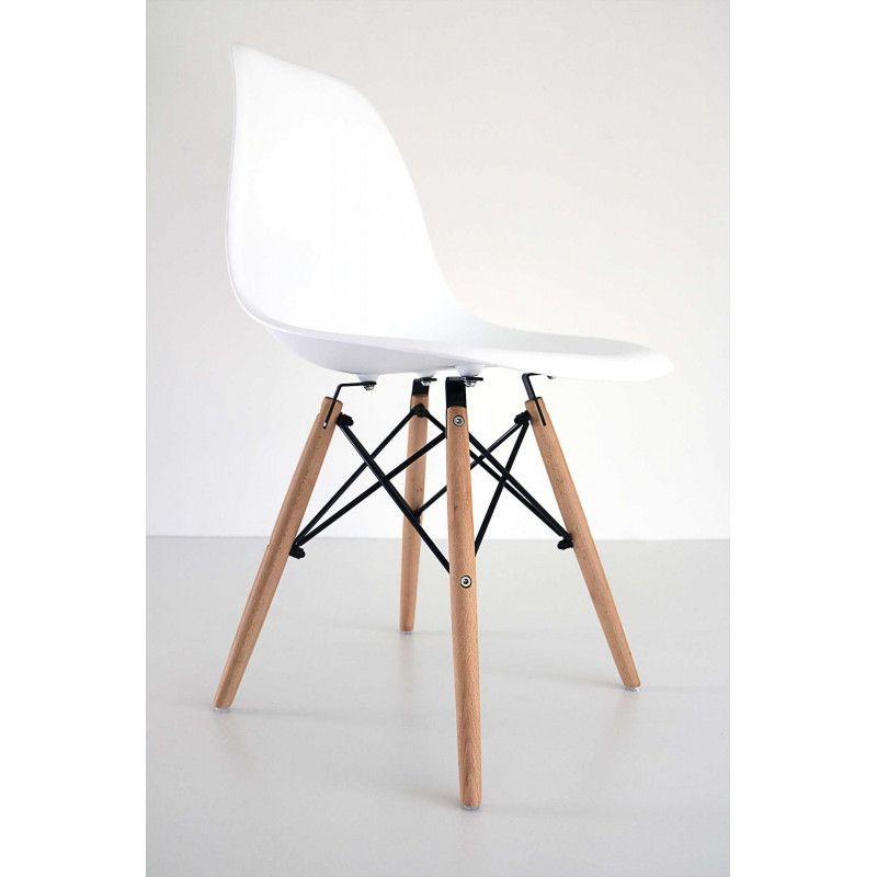 Chaise Design Bois/Blanc Scandinave HOLI