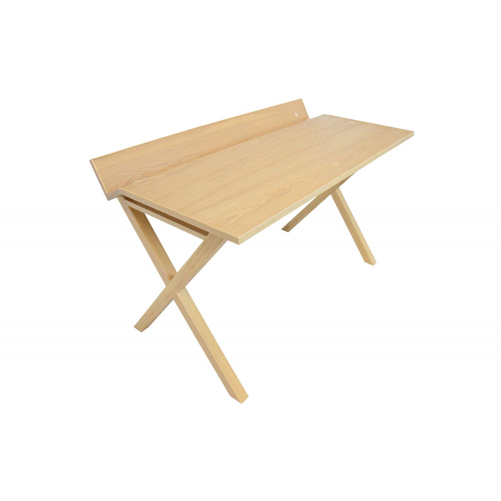 Bureau bois moderne frêne 130 cm TILT