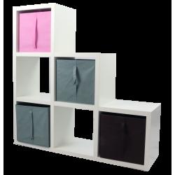 COMPO Etagère 6 cases H105 - Ep.30 mm + 4 cubes Rose, gris & chocolat KUBIN