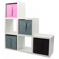 COMPO Etagère 6 cases H108 - Ep.30 mm + 4 cubes Rose, gris & chocolat KUBIN