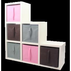 COMPO Étagère 6 cases H105 - Ep.30 mm + 6 cubes Rose, gris & chocolat KUBIN
