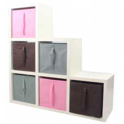 COMPO Étagère 6 cases H108 - Ep.30 mm + 6 cubes Rose, gris & chocolat KUBIN