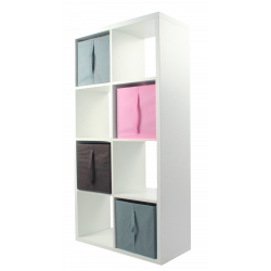 COMPO Étagère 8 cases H139 - Ep.30 mm + 4 cubes Rose, gris & chocolat KUBIN