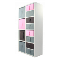 COMPO Etagère 8 cases H138,8 - Ep.30 mm + 12 cubes Rose, gris & chocolat KUBIN