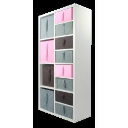 COMPO Meuble 8 cases H138,8 - Ep.30 mm + 12 cubes Rose, gris & chocolat KUBIN