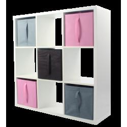 COMPO Etagère 9 cases H105 - Ep.30 mm + 5 cubes Rose, chocolat et gris KUBIN