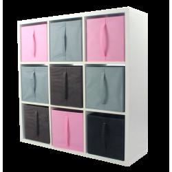 COMPO Etagère 9 cases H105 - Ep.30 mm + 9 cubes Rose, gris & chocolat KUBIN