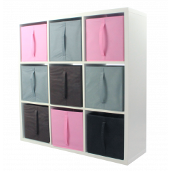 COMPO Etagère 9 cases H105,2 - Ep.30 mm + 9 cubes Rose, gris & chocolat KUBIN