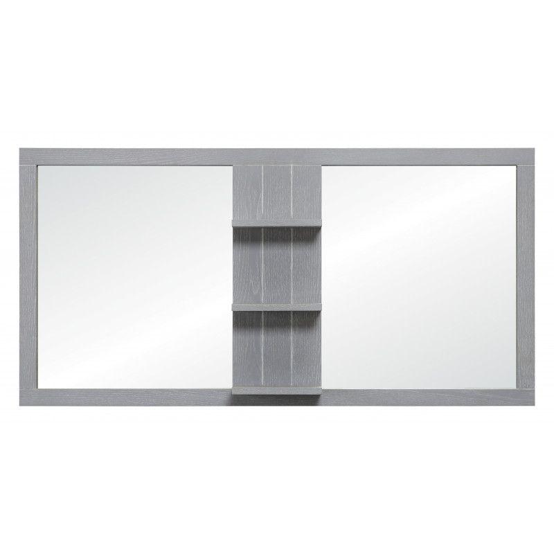 Double miroir salle de bain L120  gris patiné MARINA