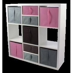COMPO Etagère 9 cases H105 - Ep.30 mm + 5 cubes + 4 demi Rose, choco et gris KUBIN