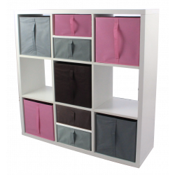 Étagère 9 cases - Blanc - 105 x 105 cm - 9 cubes de rangement + Accessoires KUBIN