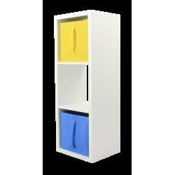 COMPO Étagère 3 cases H105 - Ep.30 mm + 2 cubes bleu & jaune KUBIN