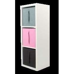 COMPO Étagère 3 cases H105 - Ep.30 mm + 3 cubes Rose, gris & chocolat KUBIN