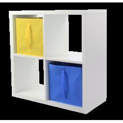 COMPO Etagère 4 cases H71,6 - Ep.30 mm + 2 cubes Bleu & jaune KUBIN