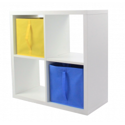 COMPO Etagère 4 cases H72 - Ep.30 mm + 2 cubes Bleu & jaune KUBIN