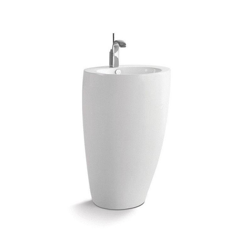 Lavabo colonne en céramique blanche H85 BOSTON