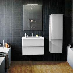 Ensemble de salle de bain 60 cm Blanc meuble + vasque + miroir JULIA