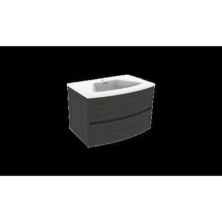 Meuble salle de bain à suspendre 80 cm noir TIGA