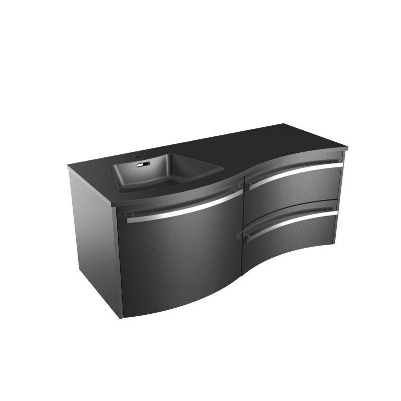 Meuble Salle de Bain Noir avec Vasque Noire 120 cm POLY