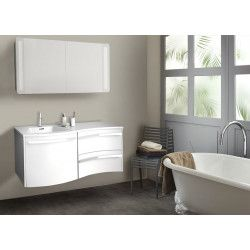 Ensemble salle de bain 120 cm meuble blanc + vasque blanche + armoire LED POLY