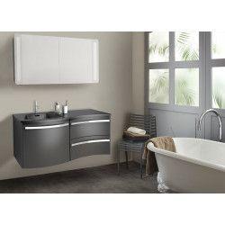 Ensemble salle de bain 120 cm meuble poivre + vasque noire + armoire LED POLY