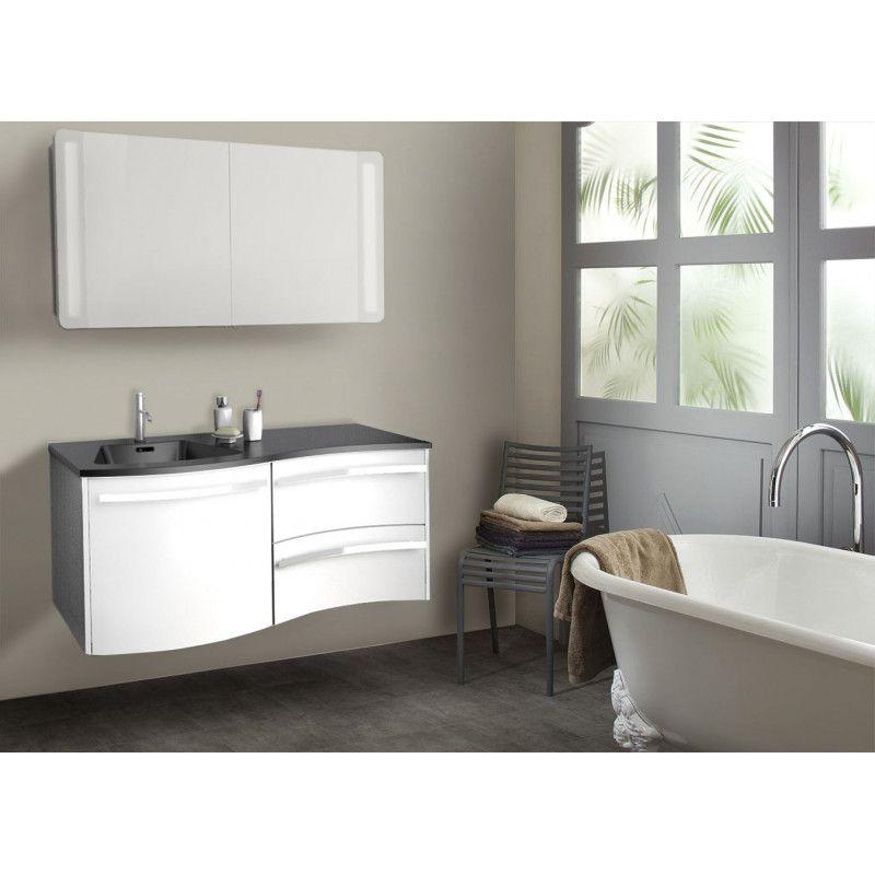 Ensemble salle de bain 120 cm meuble blanc + vasque noire + armoire LED POLY