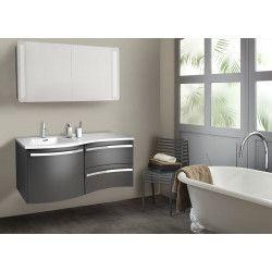 Ensemble salle de bain 120 cm meuble poivre + vasque blanche + armoire LED POLY