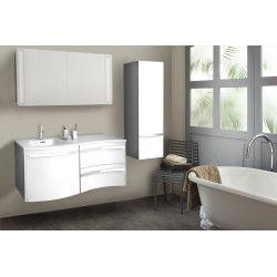 Meuble salle de bain blanc + vasque blanche - à suspendre 120 cm POLY