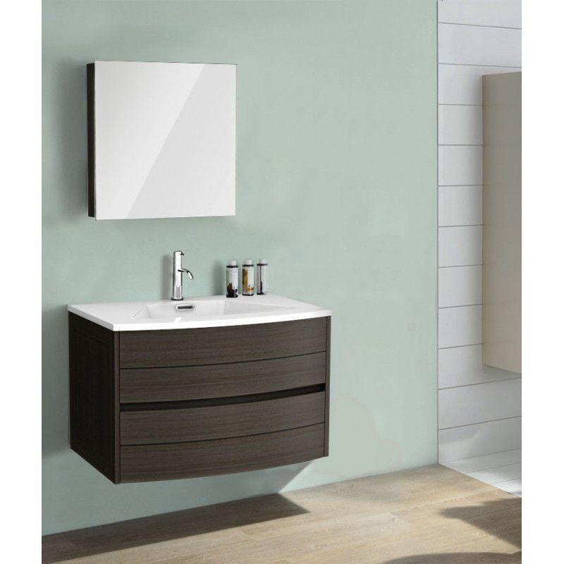 Ensemble de salle de bain taupe 80 cm meuble + vasque + armoire TIGA