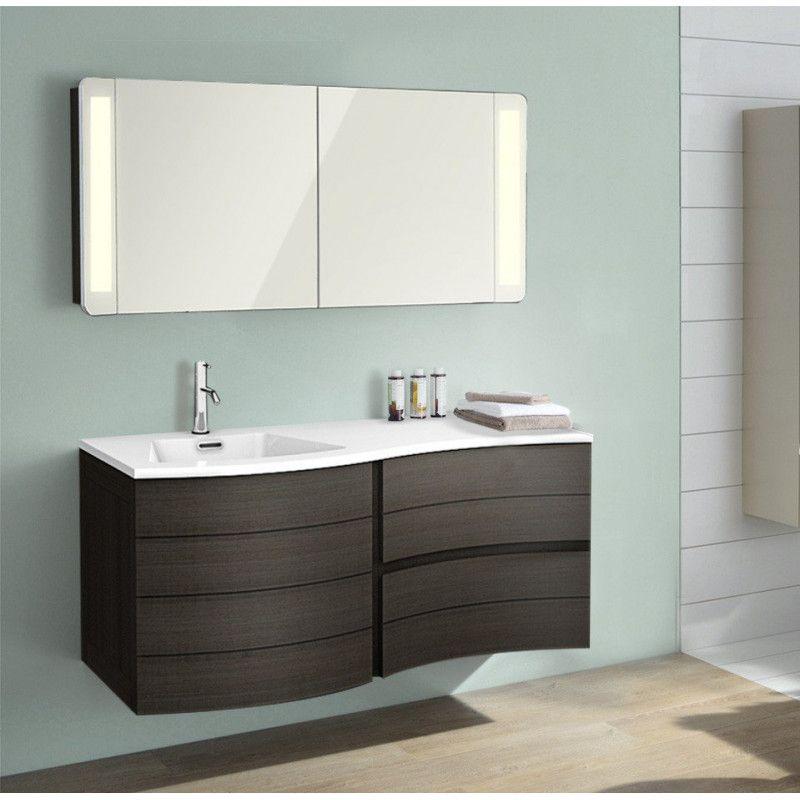 Ensemble de salle de bain taupe 120 cm meuble + vasque + armoire LED ...