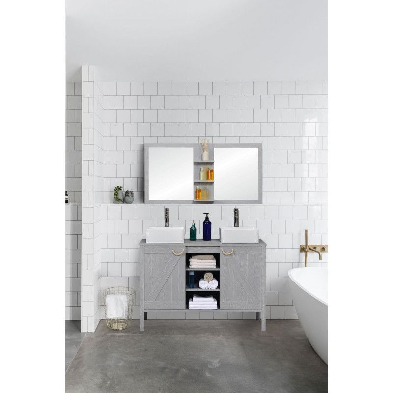 Ensemble meuble sous-vasque SDB 120 cm + miroir MARINA