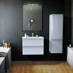 Ensemble de salle de bain 60 cm Gris meuble + vasque + miroir JULIA