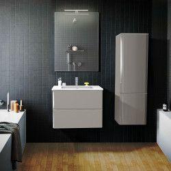 Ensemble de salle de bain 60 cm Taupe meuble + vasque + miroir JULIA