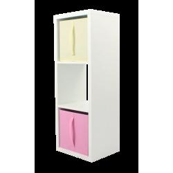 COMPO Meuble de Rangement 3 cases H105,2 - Ep.30 mm + 2 cubes rose & écru KUBIN