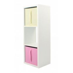 COMPO Étagère 3 cases H105 - Ep.30 mm + 2 cubes rose & écru KUBIN