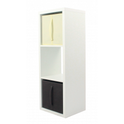 COMPO Étagère 3 cases H105 - Ep.30 mm + 2 cubes chocolat & écru KUBIN