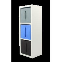 COMPO Étagère 3 cases H105 - Ep.30 mm + 3 cubes Bleu, gris et chocolat KUBIN