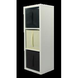 COMPO Étagère 3 cases H105,2 - Ep.30 mm + 3 cubes Chocolat, écru & noir KUBIN