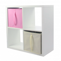 COMPO Etagère 4 cases H72 - Ep.30 mm + 2 cubes Rose & écru KUBIN