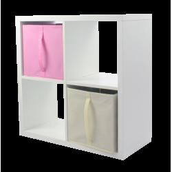 COMPO Etagère 4 cases H72 - Ep.30 mm + 2 cubes Rose & écru KUBIN