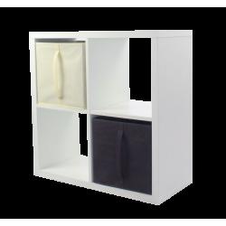 COMPO Etagère 4 cases H71,6 - Ep.30 mm + 2 cubes Chocolat & écru KUBIN