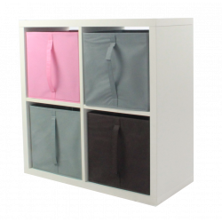 COMPO Etagère 4 cases H72 - Ep.30 mm + 4 cubes Rose, gris & chocolat KUBIN