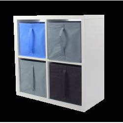 COMPO Etagère 4 cases H71,6 - Ep.30 mm + 4 cubes Bleu, gris & chocolat KUBIN