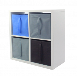 Étagère 4 cases - Blanc - 71 x 71 cm - 4 cubes de rangement KUBIN