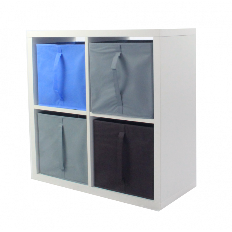 COMPO Etagère 4 cases H72 - Ep.30 mm + 4 cubes Bleu, gris & chocolat KUBIN