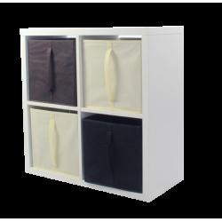 COMPO Etagère 4 cases H72 - Ep.30 mm + 4 cubes Ecru, noir & chocolat KUBIN