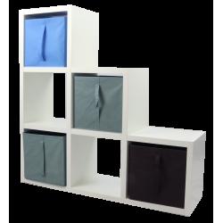 COMPO Etagère 6 cases H108 - Ep.30 mm + 4 cubes Bleu, gris & chocolat KUBIN