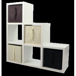 COMPO Etagère 6 cases H108 - Ep.30 mm + 4 cubes Chocolat, écru & noir KUBIN